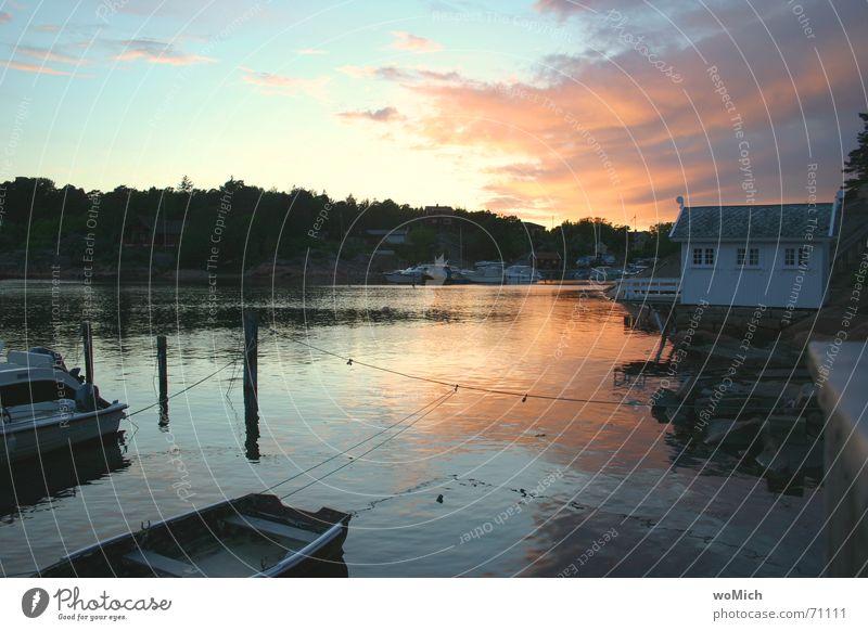 Water Ocean Vacation & Travel Lake Landscape Watercraft Harbour Sailing Footbridge Dusk Norway Scandinavia Drop anchor
