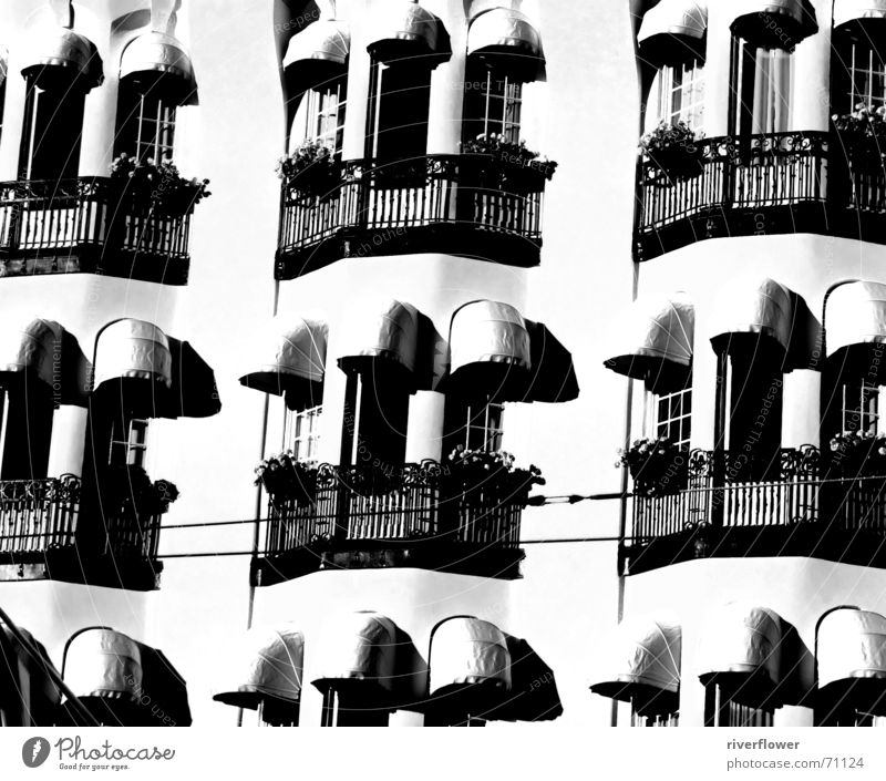balconies Balcony Hotel Black White Window Stockholm Concrete Structures and shapes Gloomy Architecture