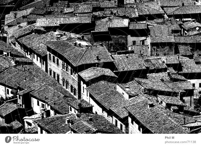 Tetti Roof Europe Italy San Gimignano Black White Bird's-eye view Gray Pattern Town Brick House (Residential Structure) Black & white photo Contrast