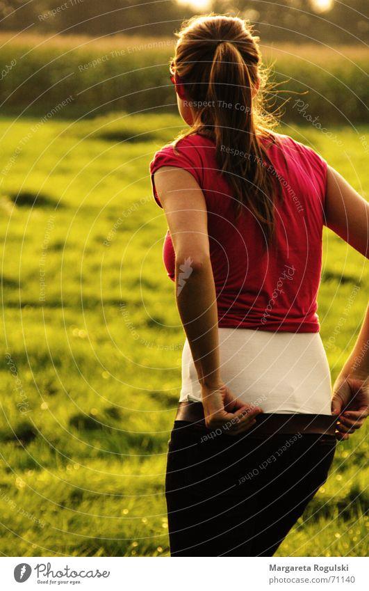 towards the sun Woman Field Autumn Summer Back Warmth