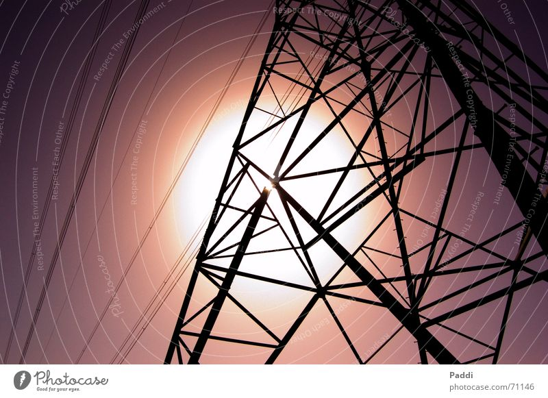 Sky Sun Electricity Cable Net Tower Violet Steel Electricity pylon Steel carrier
