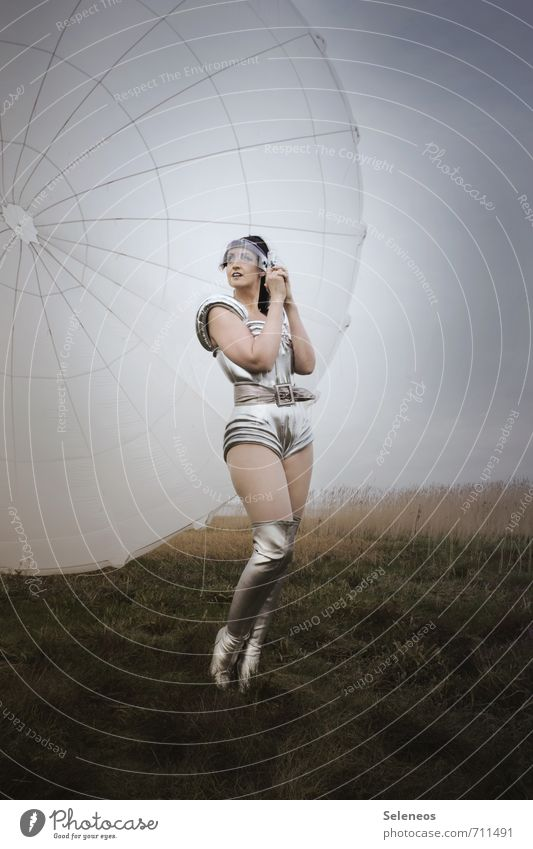 Spacewoman Technology Advancement Future High-tech Human being Feminine Woman Adults 1 Grass Field Aviation Parachute Clothing Boots Infinity Costume Universe