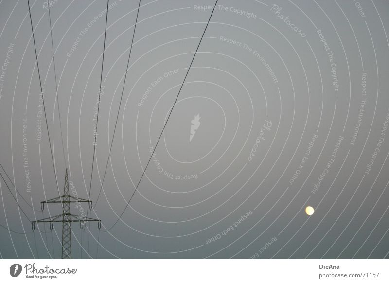off Electricity pylon Silhouette Lighting Yellow Dark Gloomy Evening Twilight Delicate Energy industry Transmission lines Line Moon almost full Bright shining