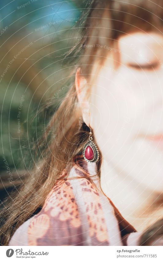 refuel Feminine Young woman Youth (Young adults) Face 1 Human being 18 - 30 years Adults To enjoy Warmth Contentment Earring Exterior shot Copy Space left