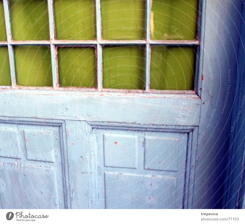 Old Colour Window Wood Glass Painting (action, work) Square Entrance Blue-green