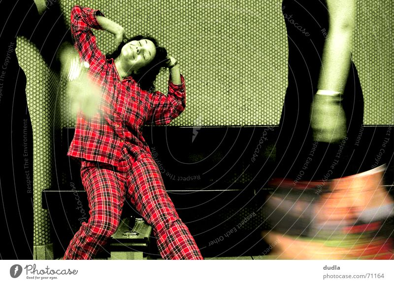 narrow-mindedly awakened Woman Pyjama Dream Checkered Green Red Pedestrian Station Morning