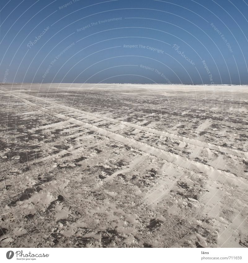 400 l Tracks Environment Nature Elements Sand Air Cloudless sky Beautiful weather Beach North Sea Beginning Loneliness Uniqueness Far-off places Spiekeroog