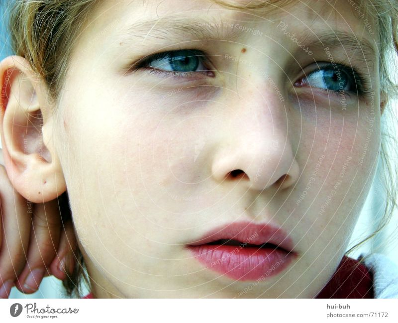 Human being Child Girl Eyes Sadness Bright Meditative Ear Lips Facial expression 8 - 13 years Pallid Concern Partially visible Detail of face