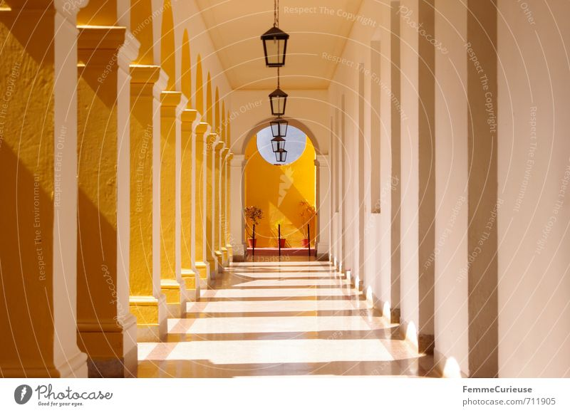 Vacation & Travel White Calm House (Residential Structure) Yellow Travel photography Architecture Lamp Esthetic Church Tower Break Lantern Column Corridor Refraction