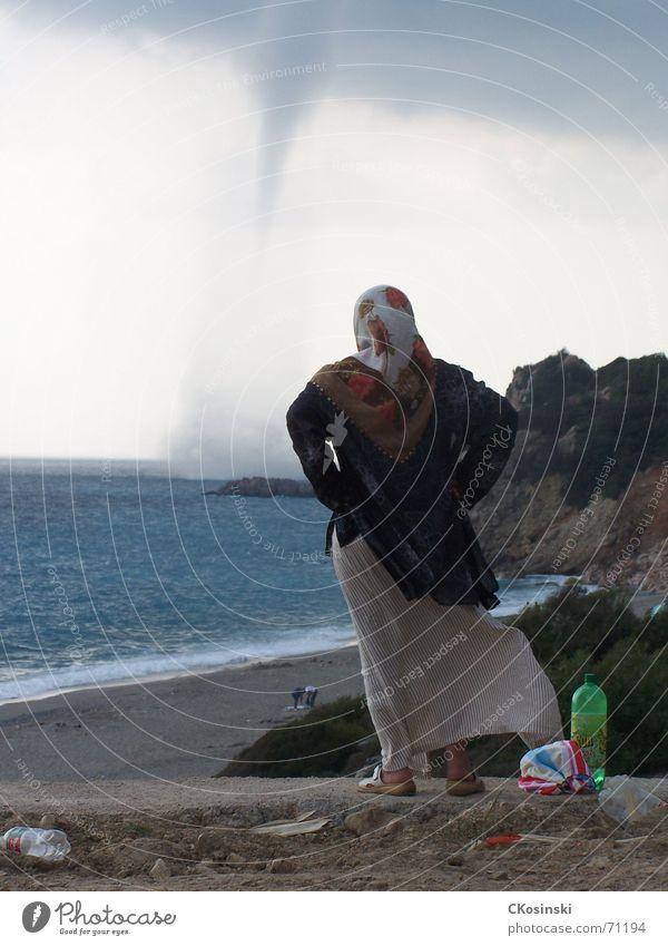 Woman Ocean Beach Wind Storm Turkey Tornado