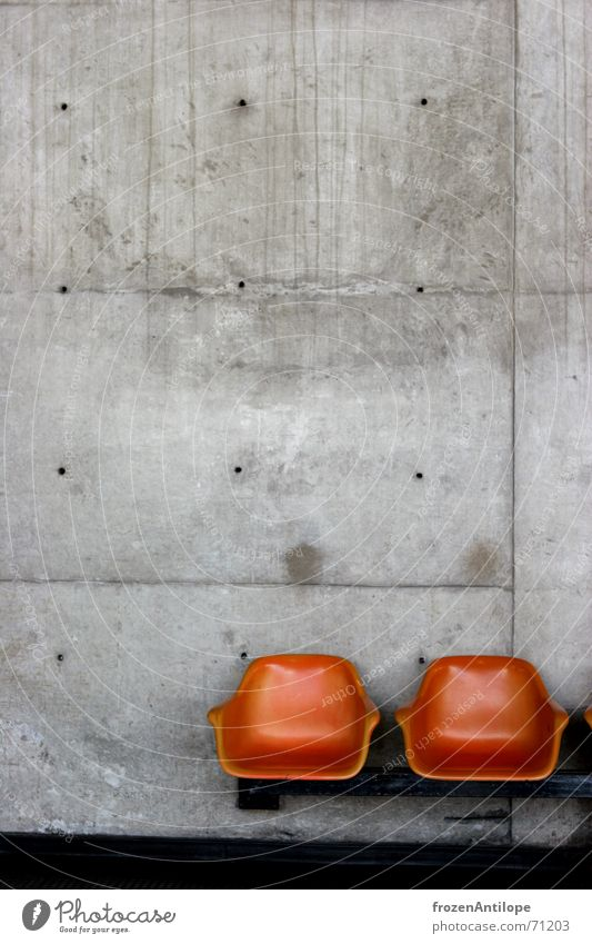 waiting opportunity São Paulo Armchair Concrete Cold Gray Manmade structures Seating Orange Building Train station Modern Bench Underground Construction site