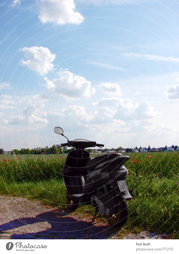 Sky Blue Green Clouds Landscape Field Sit Large Speed Driving Target Grain Mirror Vehicle Come Motorcycle