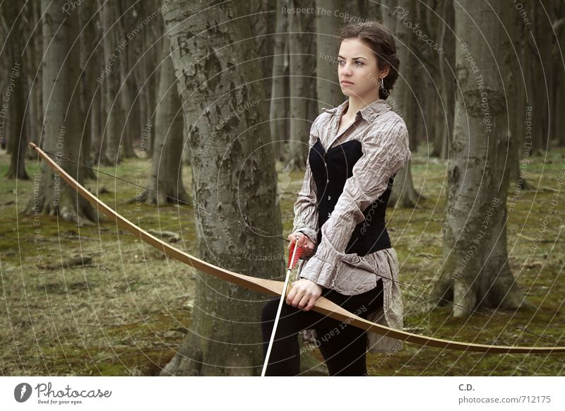 archer Archer Feminine Young woman Youth (Young adults) 1 Human being 18 - 30 years Adults Forest Brunette Bow Arrow Observe Wait Athletic Brown Green Willpower