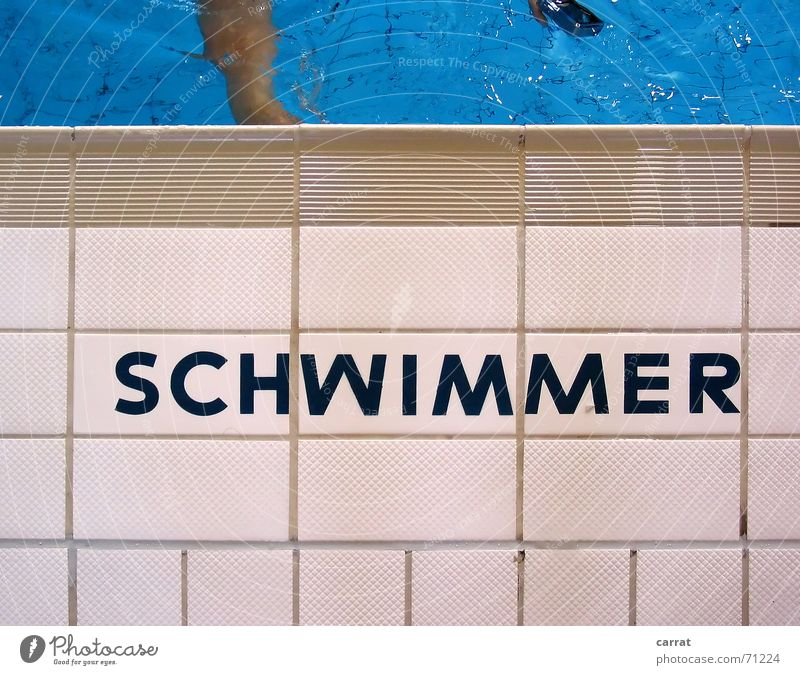 Human being Blue Summer Water White Gray Swimming & Bathing Characters Dangerous Wet Threat Swimming pool Typography Symmetry Seam Refrigeration