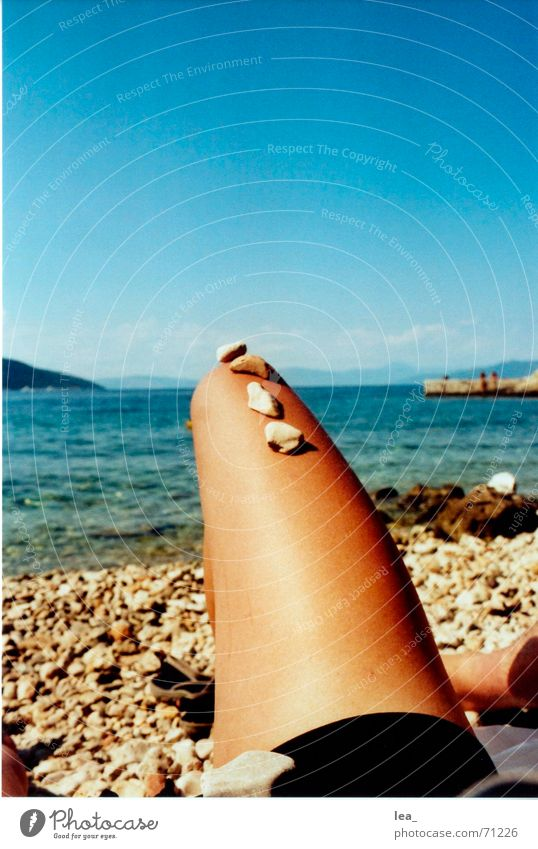 Cancelled Ocean Beach Croatia Cres Summer Bikini Black Boredom Legs Stone Water valun Sky