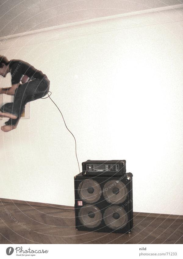 Joy Music Jump Movement Flat (apartment) Crazy Action Dangerous Cable Rock music Guitar Parquet floor Barefoot Neighbor Punk rock Release
