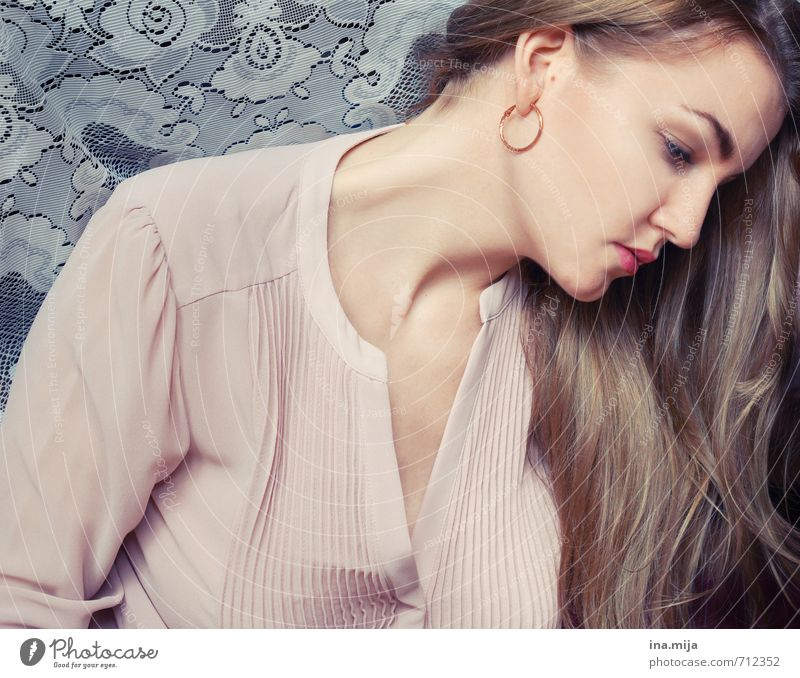 Human being Woman Youth (Young adults) Beautiful Young woman Calm 18 - 30 years Adults Sadness Feminine Hair and hairstyles Pink Dream Elegant Blonde Skin