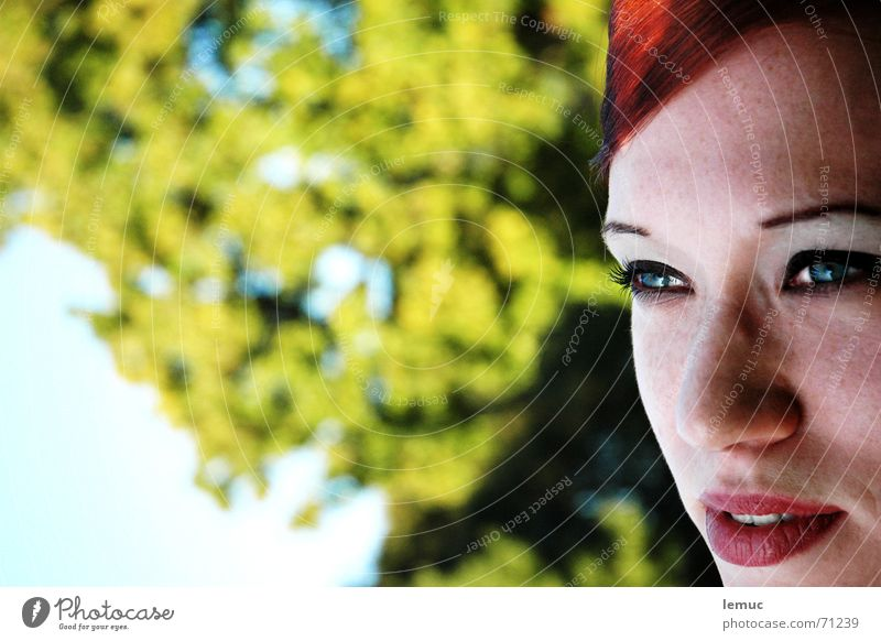 in the park Portrait photograph Red Green Freckles Summer Park Lips Looking Pallid blue eyes Detail Nature Mouth