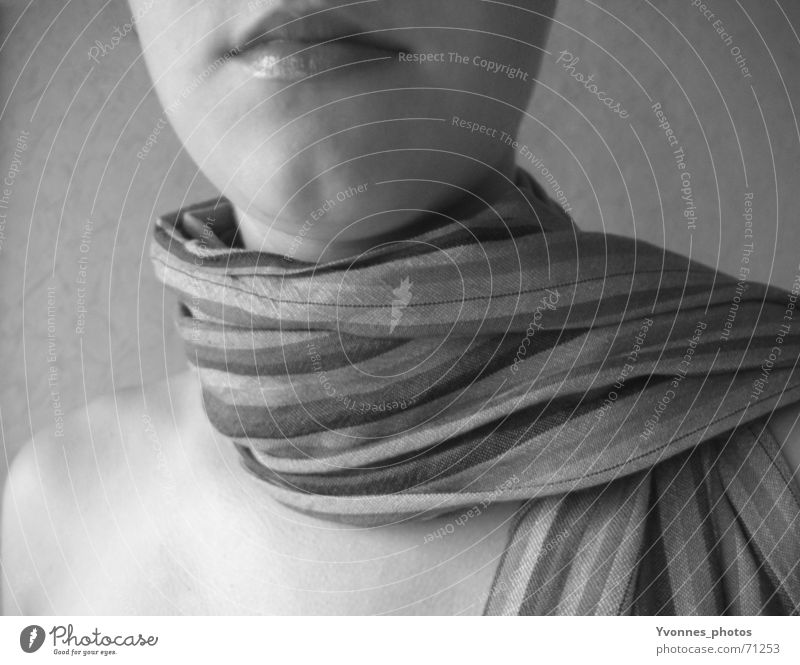 pure elegance Scarf Neckerchief Stripe Striped Lips Low neckline Exceptional Elegant Gray Simple Pure Rag Mouth Detail Partially visible Perspective