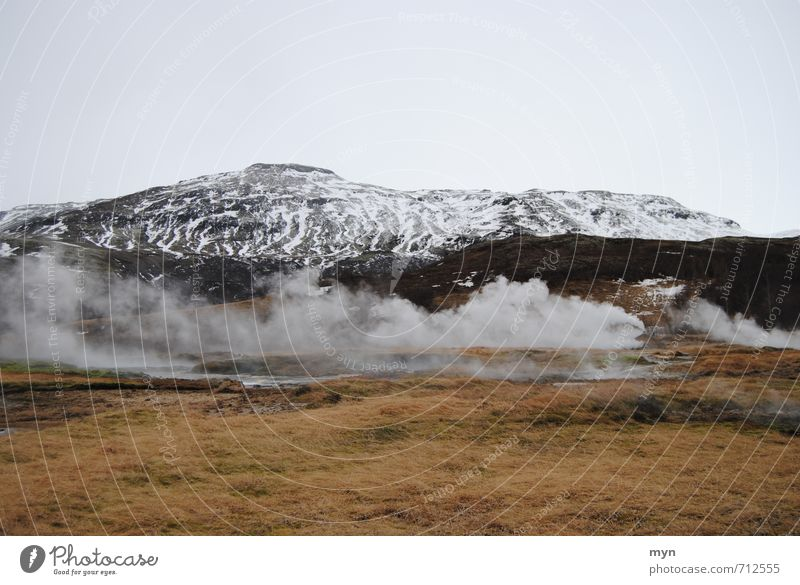 Iceland Environment Nature Landscape Elements Earth Water Sky Winter Hill Mountain Peak Snowcapped peak Volcano Smoking Geyser Geothermy Steam Exhaust gas Fog