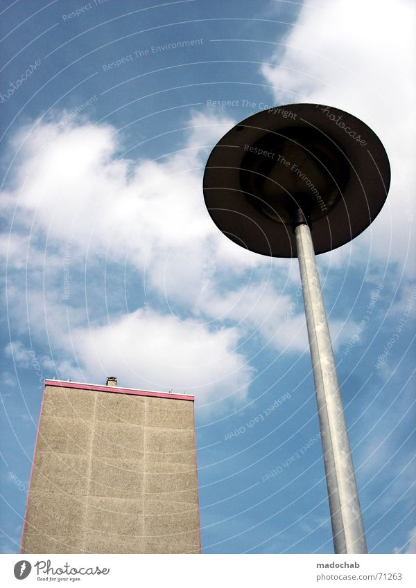 Sky White Blue City Clouds Street Lamp Gray Building Pink High-rise UFO