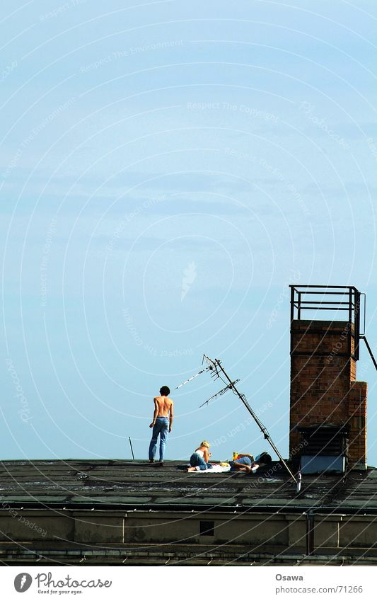 Woman Sky Man Blue Summer Relaxation 3 Roof Chimney Antenna Sky blue Friedrichshain Technology