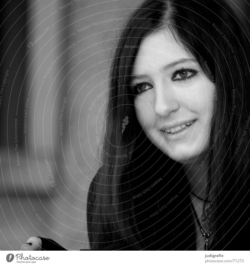 listen Portrait photograph Woman Friendliness Watchfulness Youth (Young adults) Jewellery Black & white photo Human being Face Laughter Hair and hairstyles Eyes