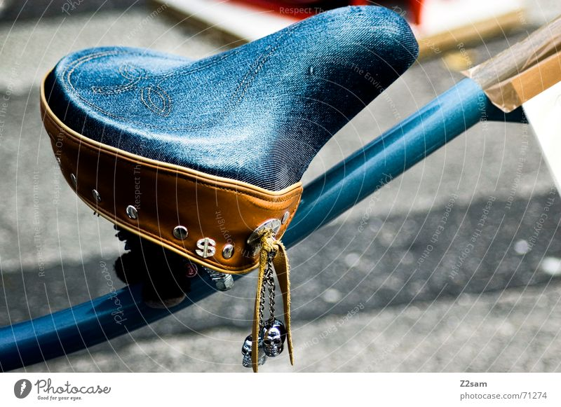 jeans seat Bicycle Rod Brown Seating Bicycle saddle Sit Jeans Blue Death's head Followers