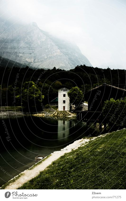 Water House (Residential Structure) Meadow Grass Mountain Coast Fog Italy Idyll Lake Garda
