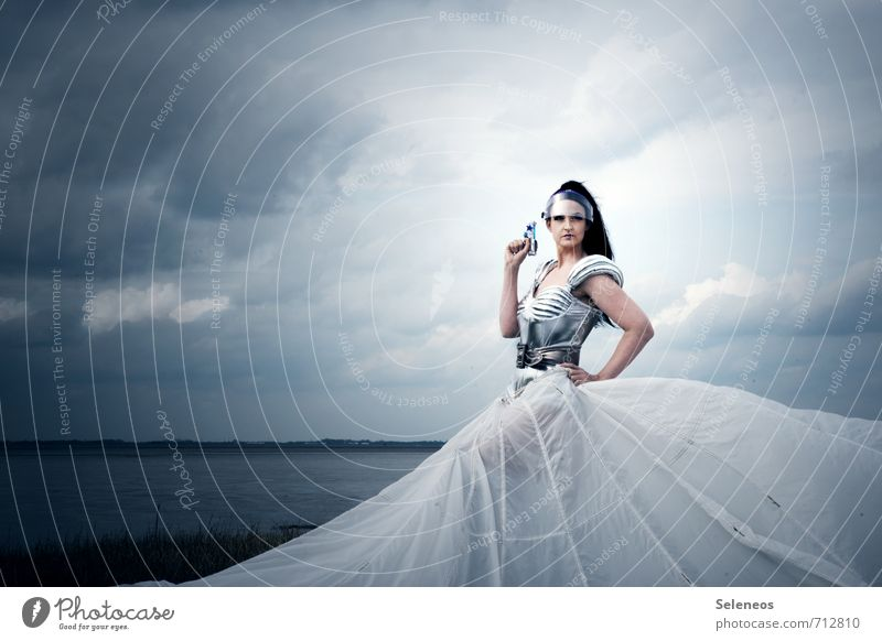 and urge Body Hair and hairstyles Skin Face Carnival Technology High-tech Aviation Astronautics Human being Feminine Woman Adults 1 Sky Clouds Horizon Coast