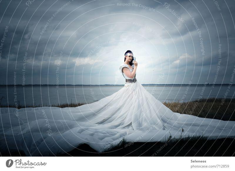 Human being Woman Sky Nature Water Landscape Clouds Beach Environment Adults Coast Feminine Grass Horizon Large Dress
