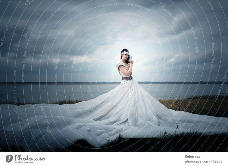 the dress Carnival Human being Feminine Woman Adults 1 Subculture Environment Nature Landscape Water Sky Clouds Horizon Grass Coast Beach Bay North Sea Skirt