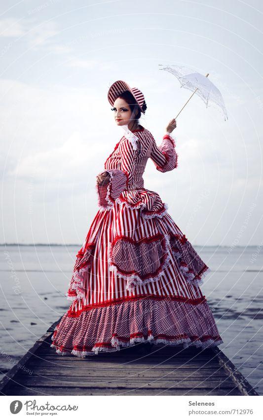 Human being Woman Sky Nature Ocean Adults Feminine Coast Horizon Fashion Clothing Historic Dress Baltic Sea Longing Hat
