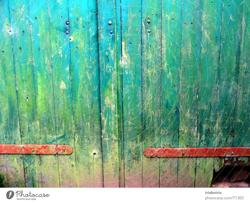 Old Green Blue Red Colour Door Floor covering Farm Gate Hollow Fantasy literature Undo Flake off Paintwork Hinge