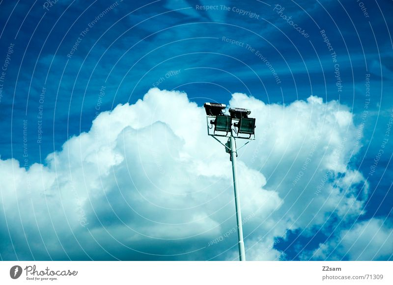 Light In The Sky Sky blue Clouds Floodlight Blue Electricity pylon
