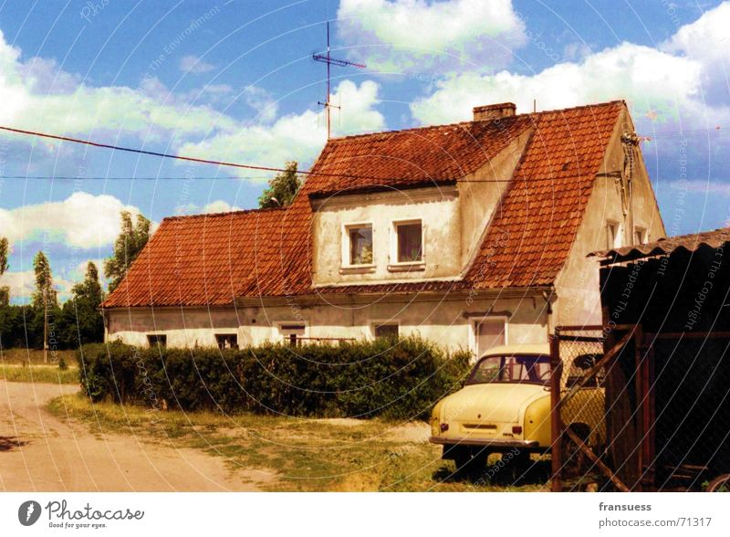 yellow car Farm Train station Yellow Clouds House (Residential Structure) Poland Masuria Car Blue Sky
