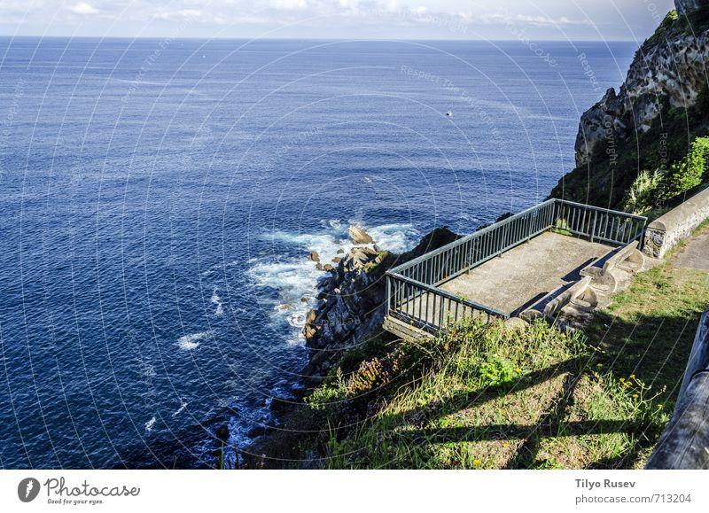 Beautiful ocean landscape Sky Nature Blue Sun Ocean Landscape Clouds Environment Stone Natural Rock Waves Europe Island Vantage point