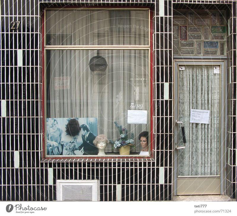 Facade Cologne Hairdresser Seventies Shop window Craftsperson Wig Ornamental plant Cologne-Ehrenfeld
