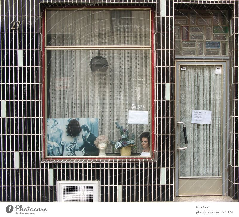 Facade Cologne Hairdresser Seventies Shop window Craftsperson Wig Ornamental plant Cologne-Ehrenfeld