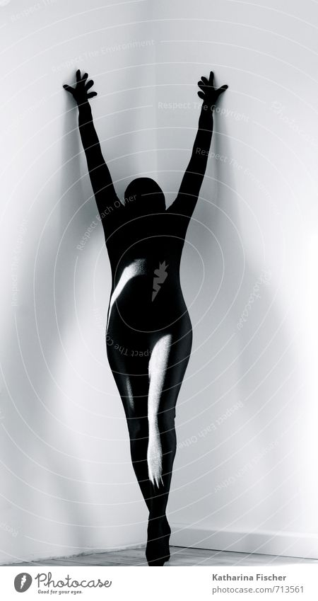 #713561 Body Human being Art Sculpture Stand Esthetic Black White Suit Headstrong Interior design Wall (barrier) Hand Arm Legs Posture Creativity