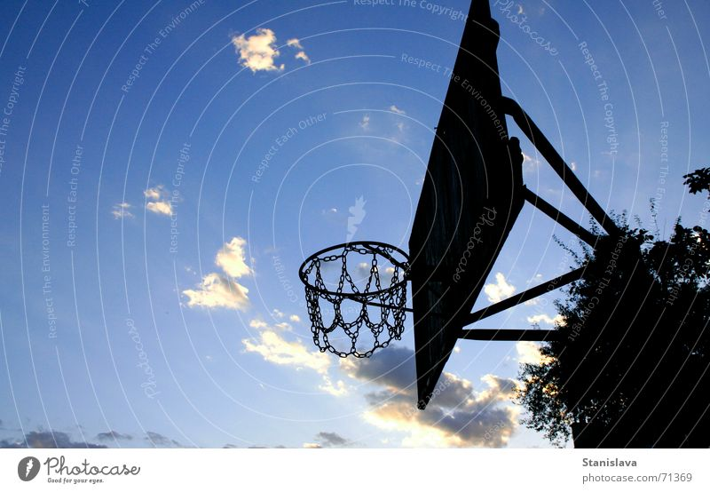 old basket Basketball basket Sky Playing playground blue siluette evening black cloud