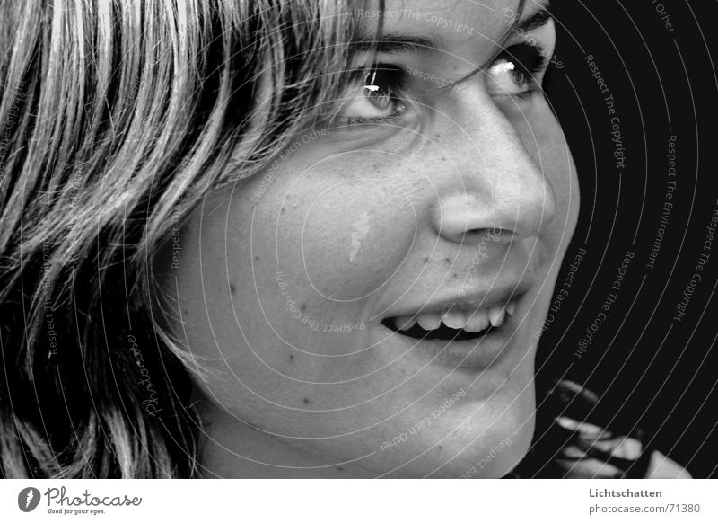 into your eyes Woman Near Looking Laughter Dark background Black & white photo Joy