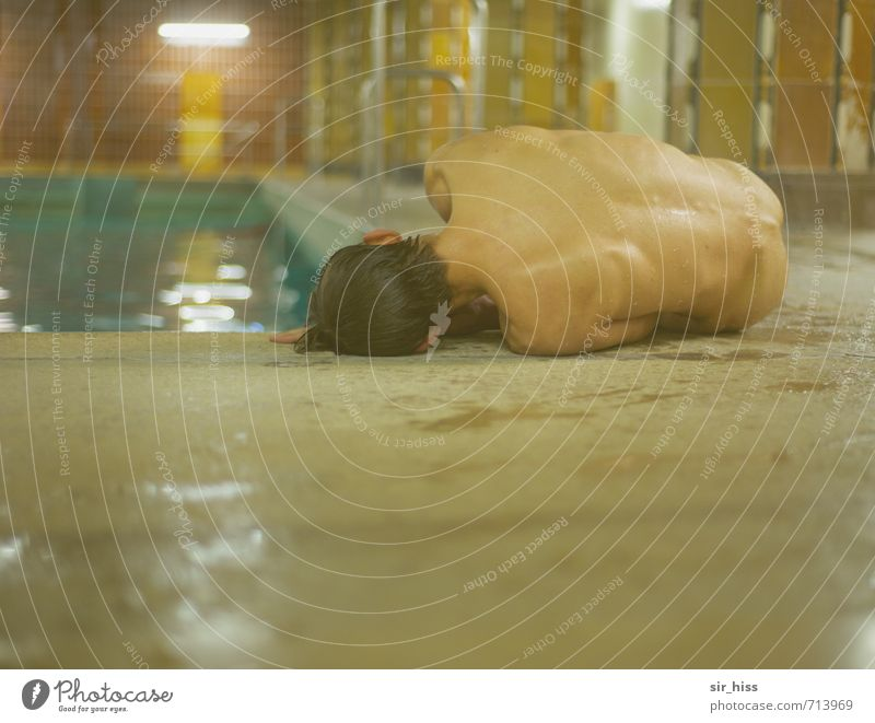 loner | filed Swimming & Bathing Swimming pool Body Back Monument To fall Lie Cry Poverty Athletic Creepy Naked Brown Yellow Gold Green Death Fatigue