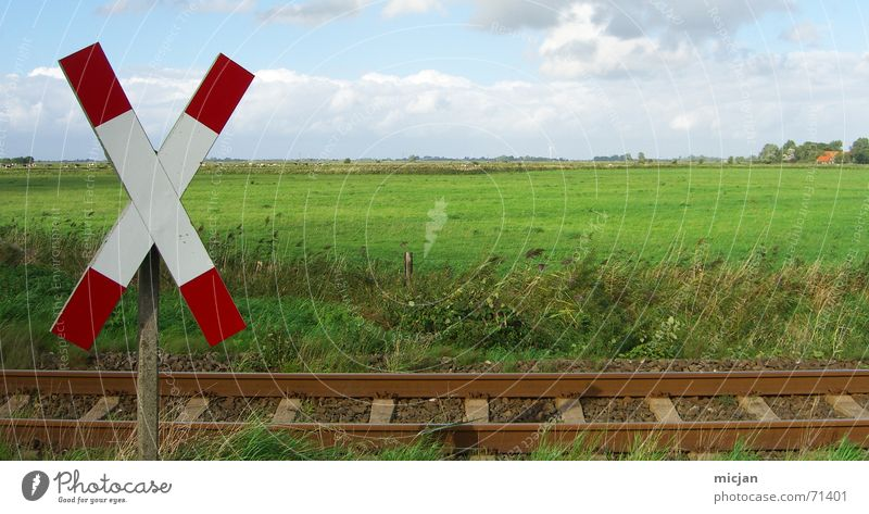 Sky Nature Blue White Green Red Clouds Meadow Wood Stone Horizon Brown Rain Back Signs and labeling Railroad
