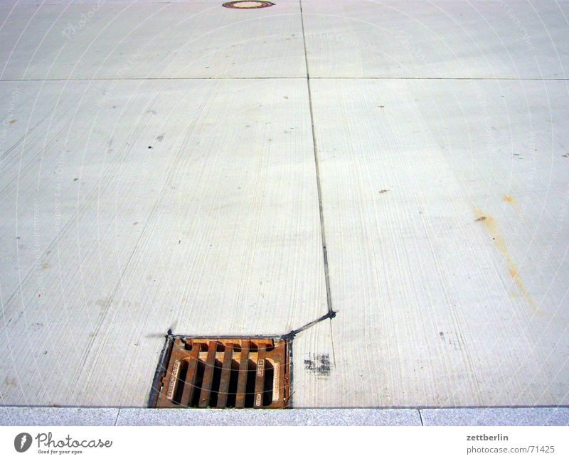 Gulli again Gully Effluent Parking lot Concrete Sidewalk Curbside Seam Brook drainage green lung sealing Street Beethoven