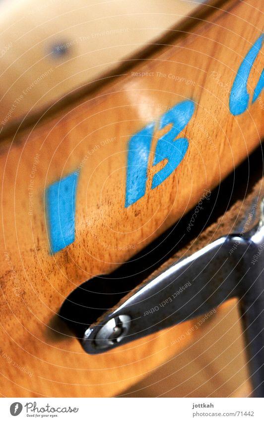Blue Colour Wood Chair Characters Letters (alphabet) Write Typography Wood grain Backrest Wood flour Stencil