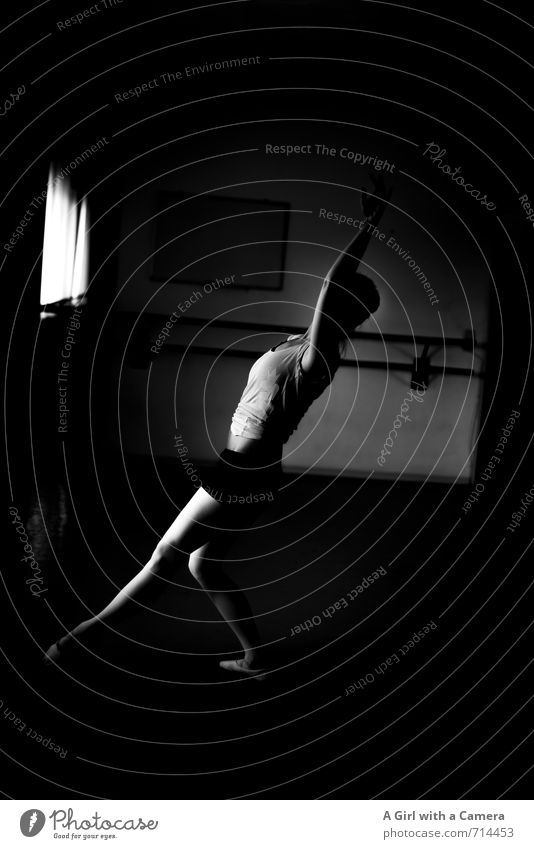 Genuine I exhausting Human being Feminine Woman Adults Body 1 Dance Effort Graceful Elegant Ballet Thin Black & white photo Interior shot Copy Space right Day