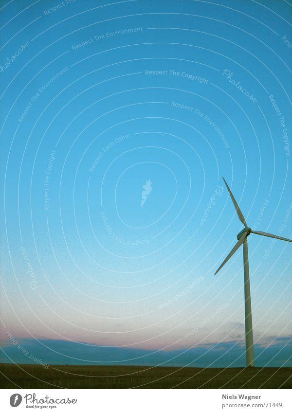 Sky Green Meadow Grass Wind Wind energy plant Dusk