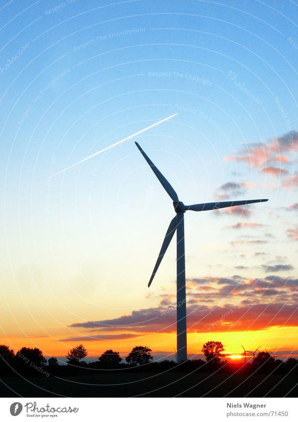 Sky Tree Sun Green Red Meadow Grass Airplane Wind Wind energy plant Dusk