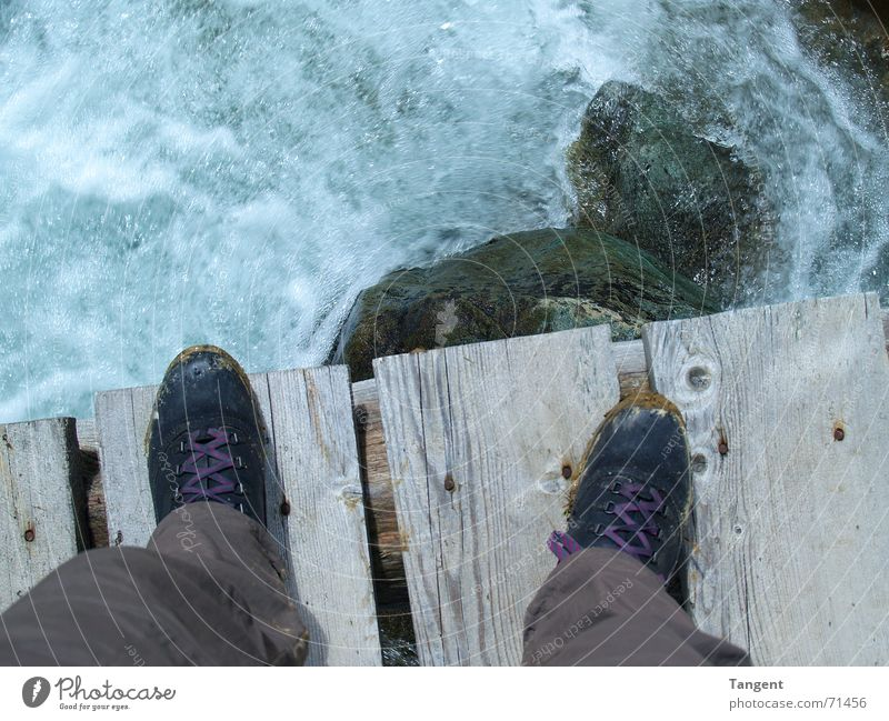 Jump! Waves Foam Whitewater Brook Electricity Wood Plank Nail Smoothness Edge Boots Footwear Dangerous Adventure Suicide Water High tide Stone Rock Bridge Joist